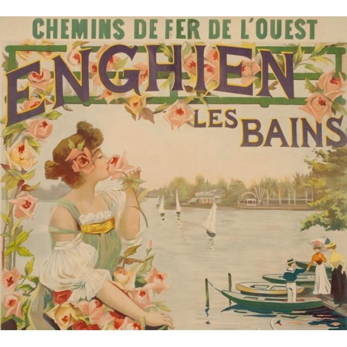 Affiche ancienne de voyage - Raymond Tournon - Circa 1900 - Enghien Les Bains Chemins de Fer de L'Ouest - 106 par 73 cm - 2