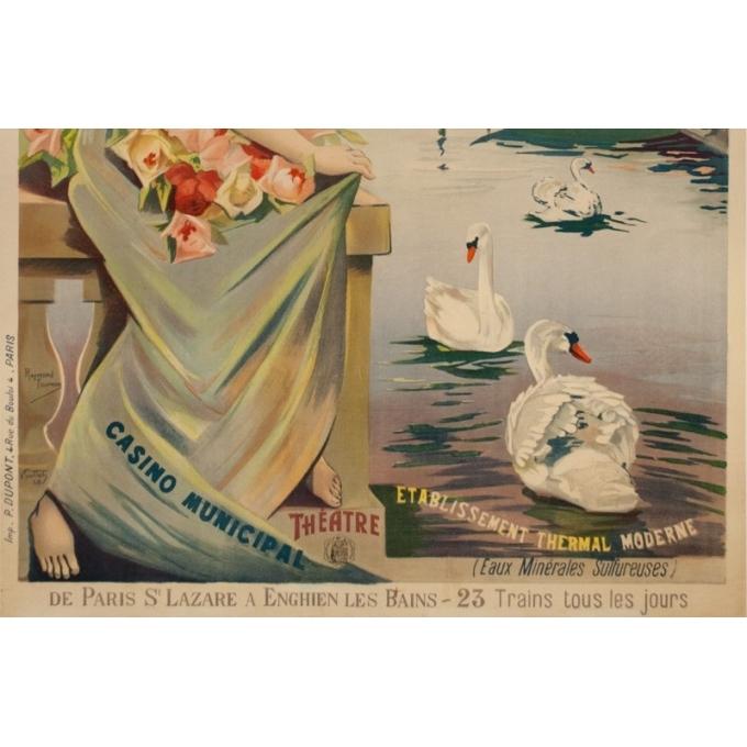 Affiche ancienne de voyage - Raymond Tournon - Circa 1900 - Enghien Les Bains Chemins de Fer de L'Ouest - 106 par 73 cm - 3