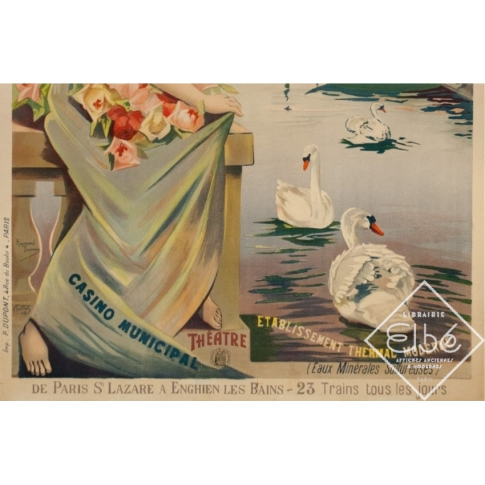 Vintage travel poster - Raymond Tournon - Circa 1900 - Enghien Les Bains Chemins de Fer de L'Ouest - 41.7 by 28.7 inches - 3