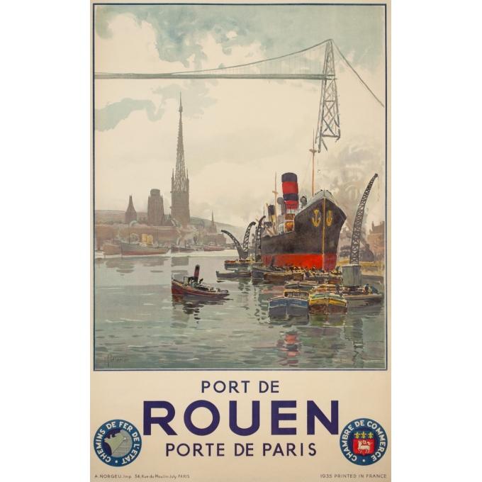 Affiche ancienne de voyage - Pellerier - 1935 - Port De Rouen Normandie - 99 par 62 cm