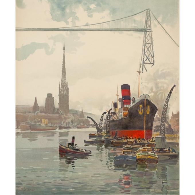 Affiche ancienne de voyage - Pellerier - 1935 - Port De Rouen Normandie - 99 par 62 cm - 2