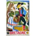 Original vintage poster of Brittany by Roland Goujon. Elbé Paris.