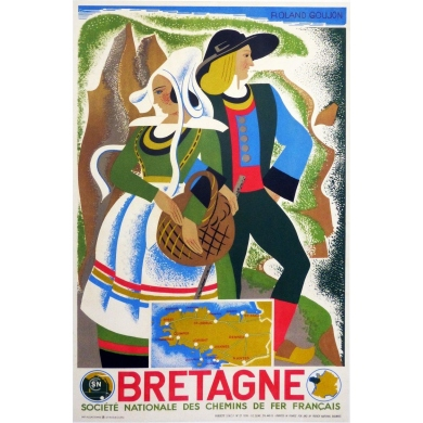 Original vintage poster of Brittany by Roland Goujon. Elbé Paris.