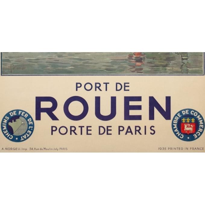 Affiche ancienne de voyage - Pellerier - 1935 - Port De Rouen Normandie - 99 par 62 cm - 3