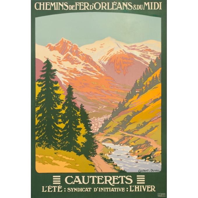 Affiche ancienne de voyage - Constant Duval - Circa 1920 - Cauteret Pyrénées - 105 par 72 cm