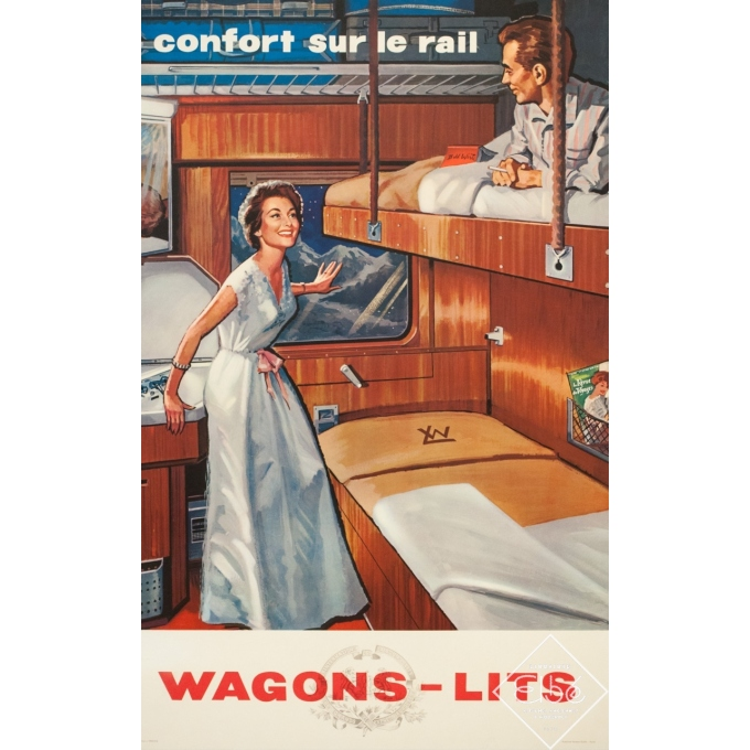 Vintage travel poster - Anonyme - Circa 1950 - Wagon Lits - 39 by 24.4 inches