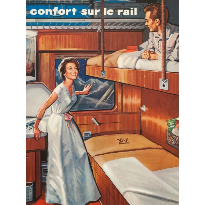 Vintage travel poster - Anonyme - Circa 1950 - Wagon Lits - 39 by 24.4 inches - 2