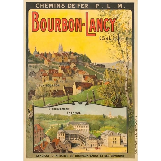 Vintage travel poster - H.J. - Circa 1910 - Bourbon Lancy PLM - 41.1 by 28.9 inches