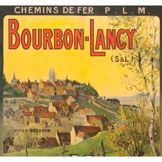 Vintage travel poster - H.J. - Circa 1910 - Bourbon Lancy PLM - 41.1 by 28.9 inches - 2