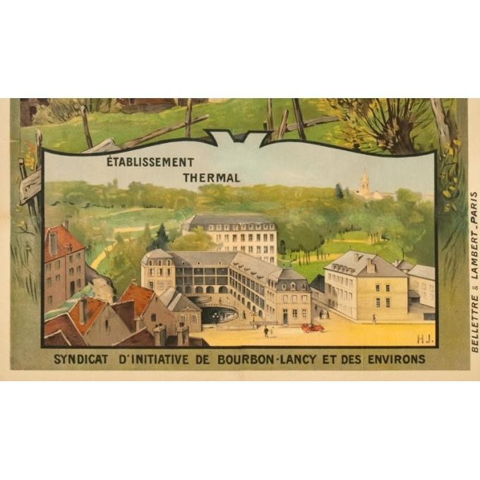 Vintage travel poster - H.J. - Circa 1910 - Bourbon Lancy PLM - 41.1 by 28.9 inches - 3