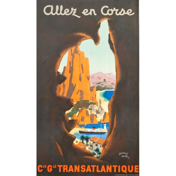 Affiche ancienne - Edouard Collin - Circa 1950 - Allez En Corse Corse Compagnie Générale Transatlantique - 100 par 58 cm