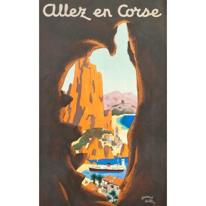 Affiche ancienne - Edouard Collin - Circa 1950 - Allez En Corse Corse Compagnie Générale Transatlantique - 100 par 58 cm - 2