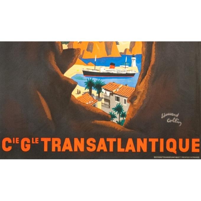 Vintage poster - Edouard Collin - Circa 1950 - Allez En Corse Compagnie Générale Transatlantique - 39.4 by 22.8 inches - 3