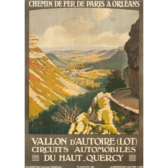 Vintage travel poster - Constant Duval - 1924 - Vallon D'Autoire Quercy Lot - 40 by 28.1 inches