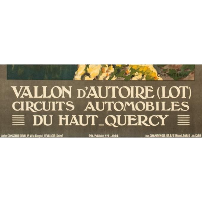 Vintage travel poster - Constant Duval - 1924 - Vallon D'Autoire Quercy Lot - 40 by 28.1 inches - 3