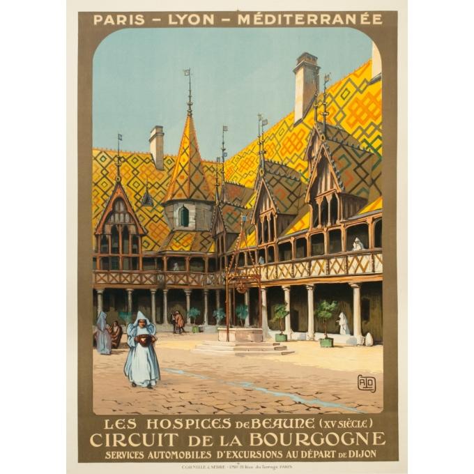 Affiche ancienne de voyage - Hallo - Circa 1920 - Beaune Hospices Bourgogne PLM - 107.5 par 78 cm