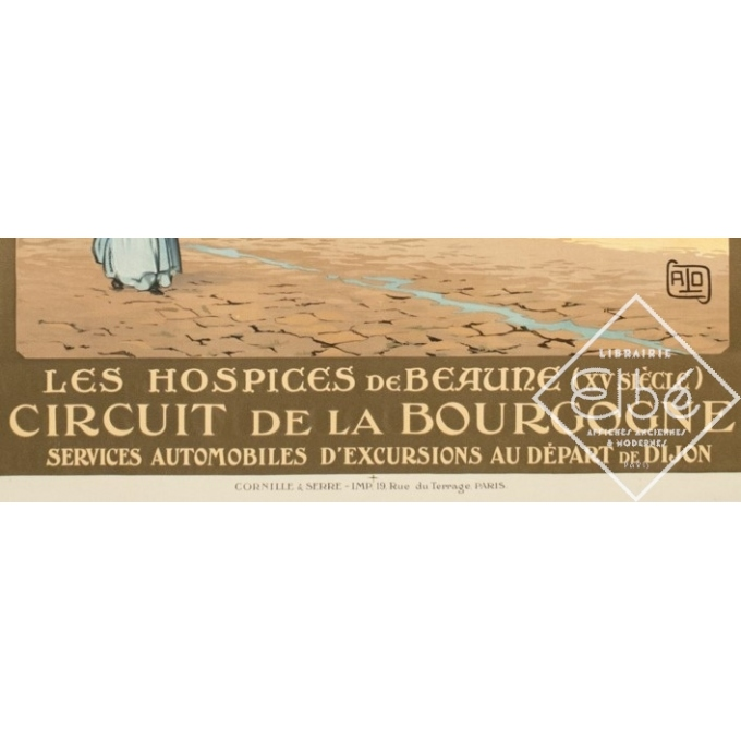 Affiche ancienne de voyage - Hallo - Circa 1920 - Beaune Hospices Bourgogne PLM - 107.5 par 78 cm - 3