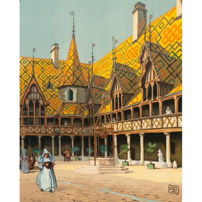 Vintage travel poster - Hallo - Circa 1920 - Beaune Hospices Bourgogne PLM - 42.3 by 30.7 inches - 2