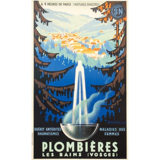 Vintage travel poster - Sénéchal - 1939 - Plombières Les Bains - 39.4 by 24 inches
