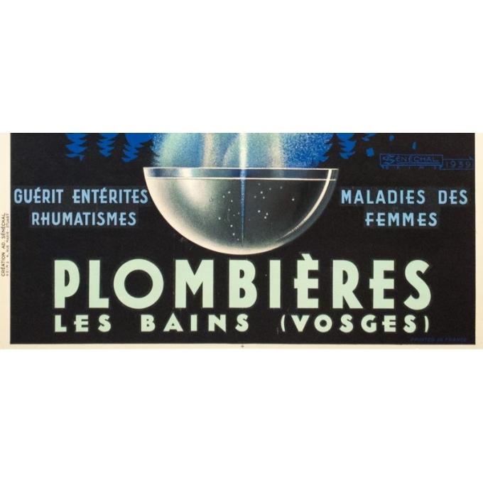 Affiche ancienne de voyage - Sénéchal - 1939 - Plombières Les Bains - 100 par 61 cm - 3