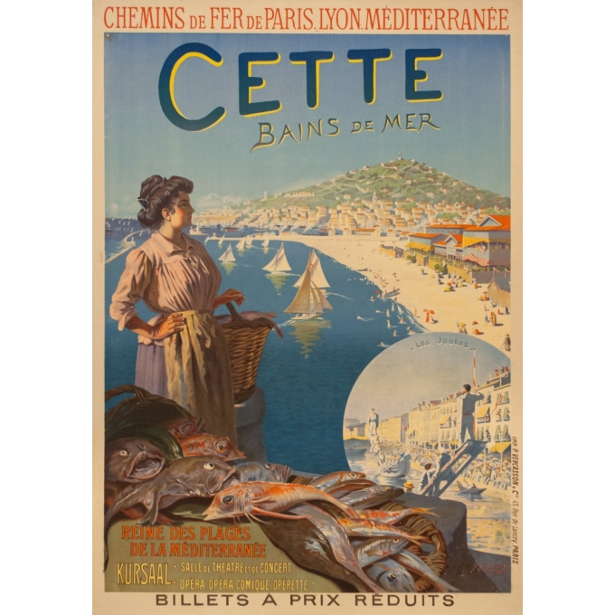 Vintage travel poster - Roussy - Circa 1910 - Cette Sètes Languedoc PLM - 41.9 by 29.5 inches