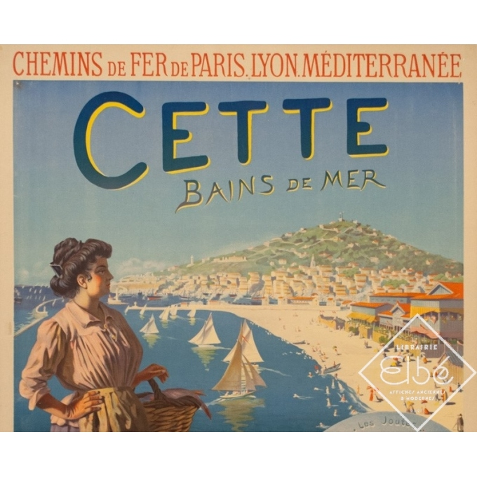 Vintage travel poster - Roussy - Circa 1910 - Cette Sètes Languedoc PLM - 41.9 by 29.5 inches - 2