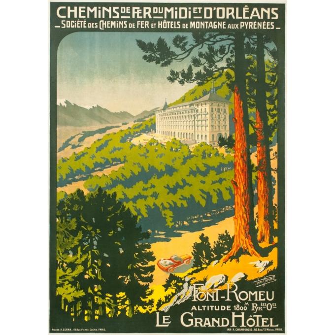 Affiche ancienne de voyage - Henri Germa - Circa 1910 - Font Romeu Pyrénées - 107 par 76.5 cm
