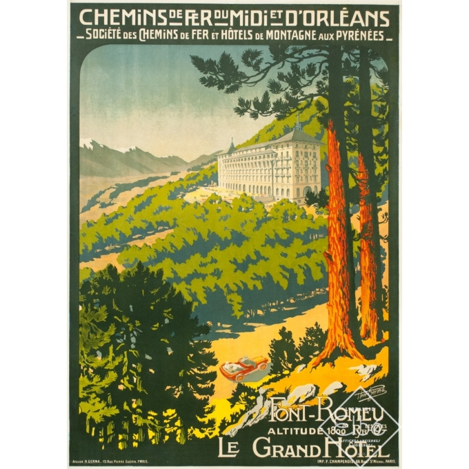 Vintage travel poster - Henri Germa - Circa 1910 - Font Romeu Pyrénées - 42.1 by 30.1 inches