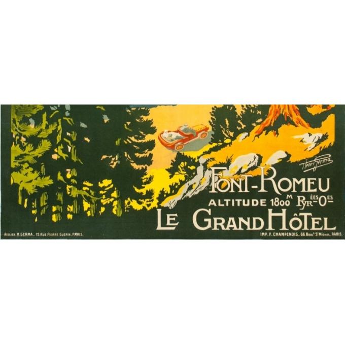 Vintage travel poster - Henri Germa - Circa 1910 - Font Romeu Pyrénées - 42.1 by 30.1 inches - 3