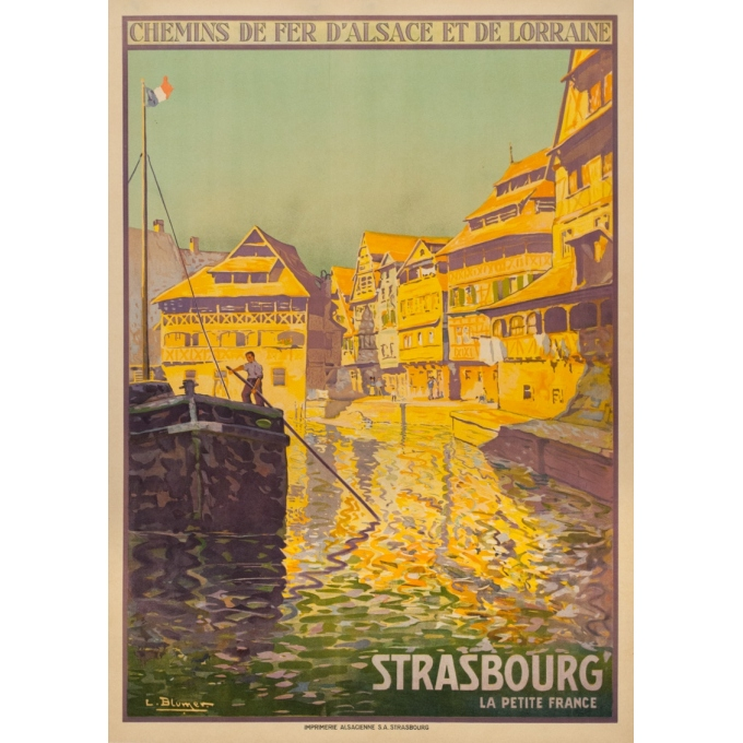 Vintage travel poster - Lucien Blumer - Circa 1920 - Strasbourg La Petite France Alsace - 41.5 by 29.5 inches