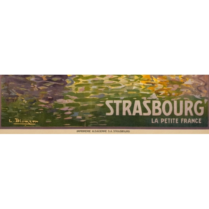 Vintage travel poster - Lucien Blumer - Circa 1920 - Strasbourg La Petite France Alsace - 41.5 by 29.5 inches - 3