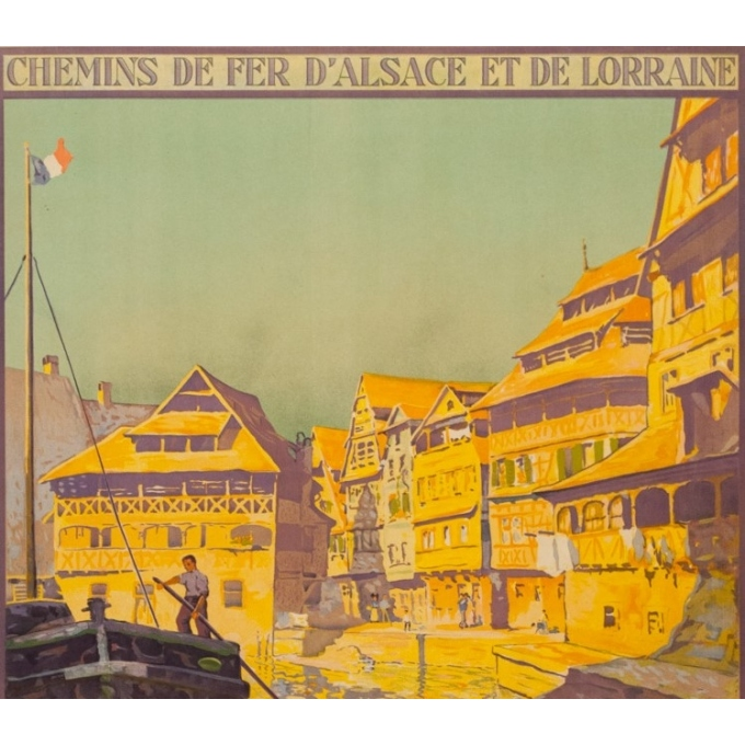 Vintage travel poster - Lucien Blumer - Circa 1920 - Strasbourg La Petite France Alsace - 41.5 by 29.5 inches - 2