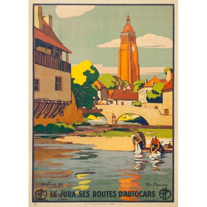 Affiche ancienne de voyage - Geo François - 1927 - Le Jura Arbois Ses Routes d'Autocars - 106.5 par 77 cm