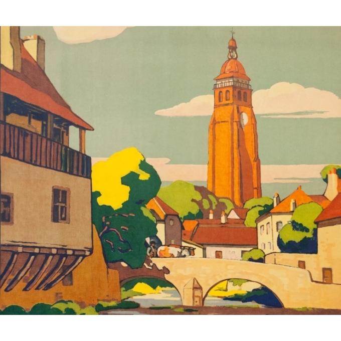 Affiche ancienne de voyage - Geo François - 1927 - Le Jura Arbois Ses Routes d'Autocars - 106.5 par 77 cm - 2