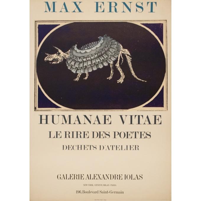Affiche ancienne d'exposition - Max Ernst - 1969 - Humanae Vitae Lithographie - 77 par 56 cm