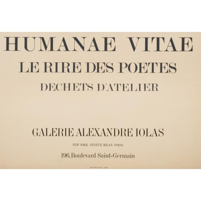 Affiche ancienne d'exposition - Max Ernst - 1969 - Humanae Vitae Lithographie - 77 par 56 cm - 3