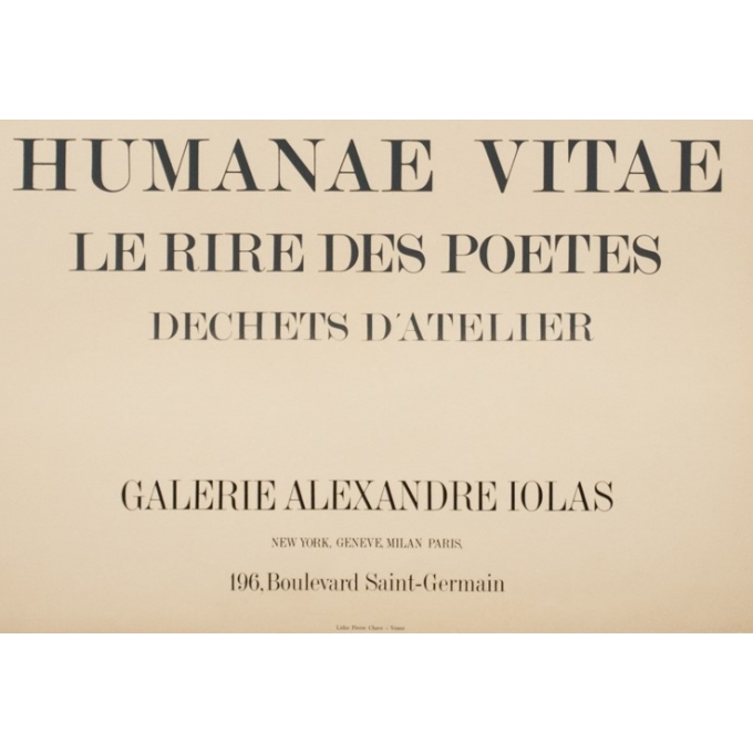 Vintage exhibition poster - Max Ernst - 1969 - Humanae Vitae - 30.3 by 22 inches - 3