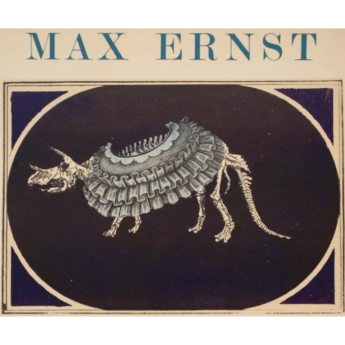 Affiche ancienne d'exposition - Max Ernst - 1969 - Humanae Vitae Lithographie - 77 par 56 cm - 2
