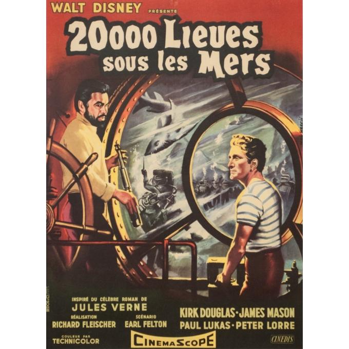 Affiche ancienne de cinéma - Jean Mascii - 1954 - 20000 Lieues Sous Les Mers Jules Verne France - 77 par 57 cm