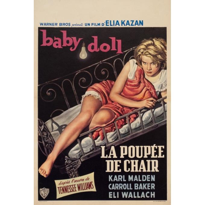 Affiche ancienne de cinéma - 1956 - Baby Doll La Poupee De Chair - 53 par 35.5 cm