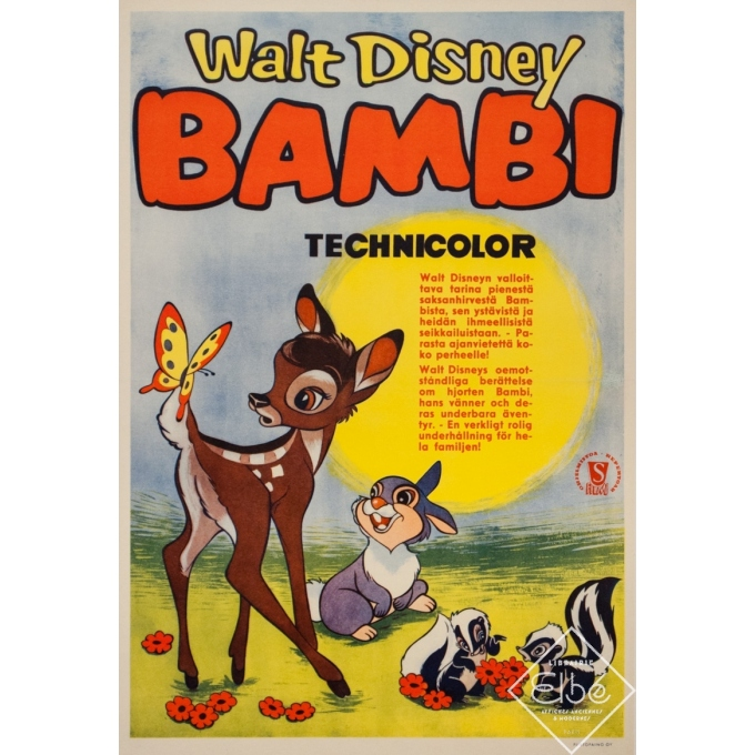 Original vintage movie poster - Circa 1980 - Bambi Scandinave - 23.6 by 16.1 inches
