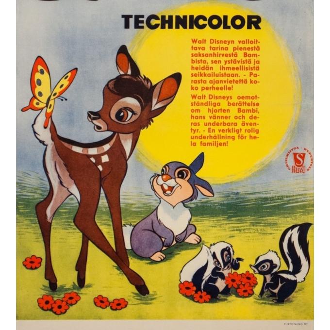 Affiche ancienne de cinéma - Circa 1980 - Bambi Scandinave - 60 par 41 cm - 3