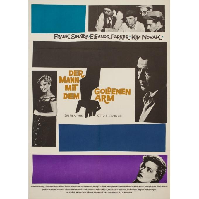 Affiche ancienne de cinéma - Saul Bass - Circa 1960 - L'Homme À La Main D'Or Allemagne - 84 par 60 cm
