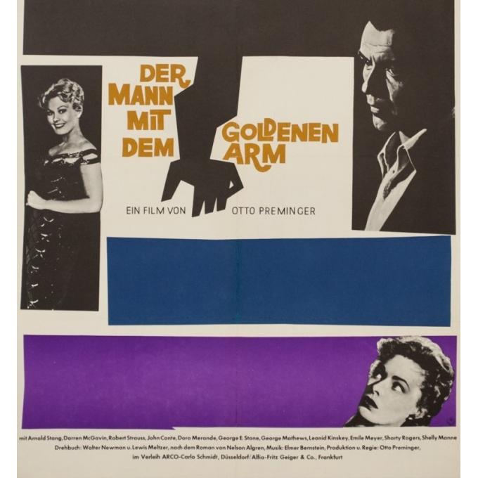 Affiche ancienne de cinéma - Saul Bass - Circa 1960 - L'Homme À La Main D'Or Allemagne - 84 par 60 cm - 3