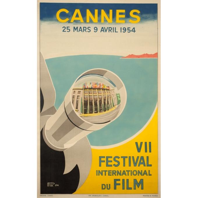 Affiche ancienne originale - Piva - 1954 - Festival De Cannes - 97 par 61 cm