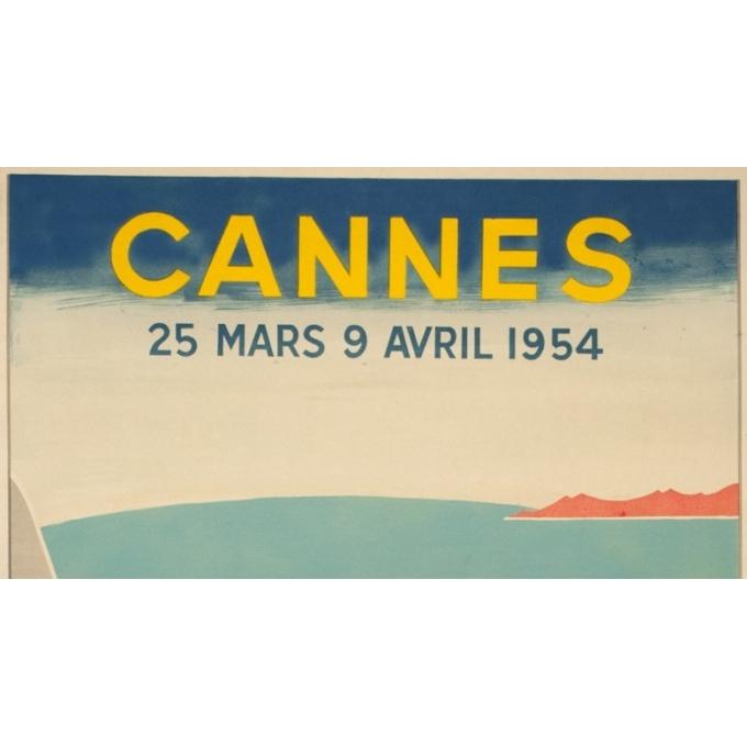 Affiche ancienne originale - Piva - 1954 - Festival De Cannes - 97 par 61 cm - 2