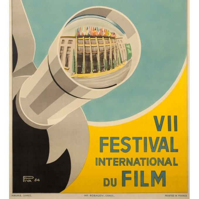 Affiche ancienne originale - Piva - 1954 - Festival De Cannes - 97 par 61 cm - 3