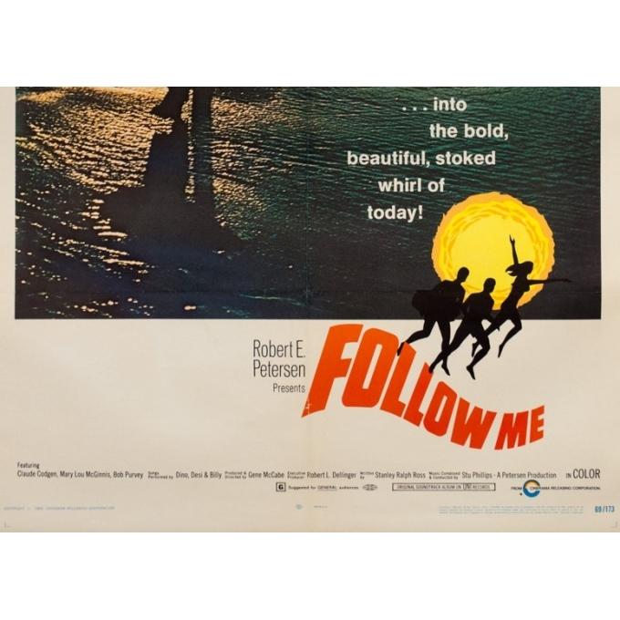 Affiche ancienne de cinéma - One sheet - 1969 - Follow Me Surf One Sheet Usa - 102 par 67 cm - 3