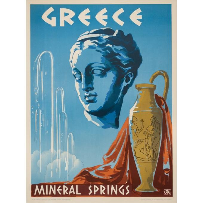 Affiche ancienne de voyage -  Circa 1950 - Greece Mineral Springs - 80.5 par 60 cm