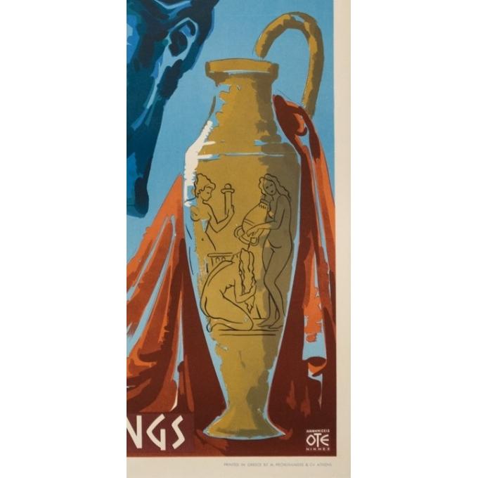 Affiche ancienne de voyage -  Circa 1950 - Greece Mineral Springs - 80.5 par 60 cm - 3